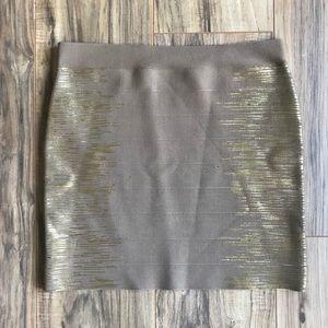 Tan and Gold Holiday Mini Bandage Skirt by Guess